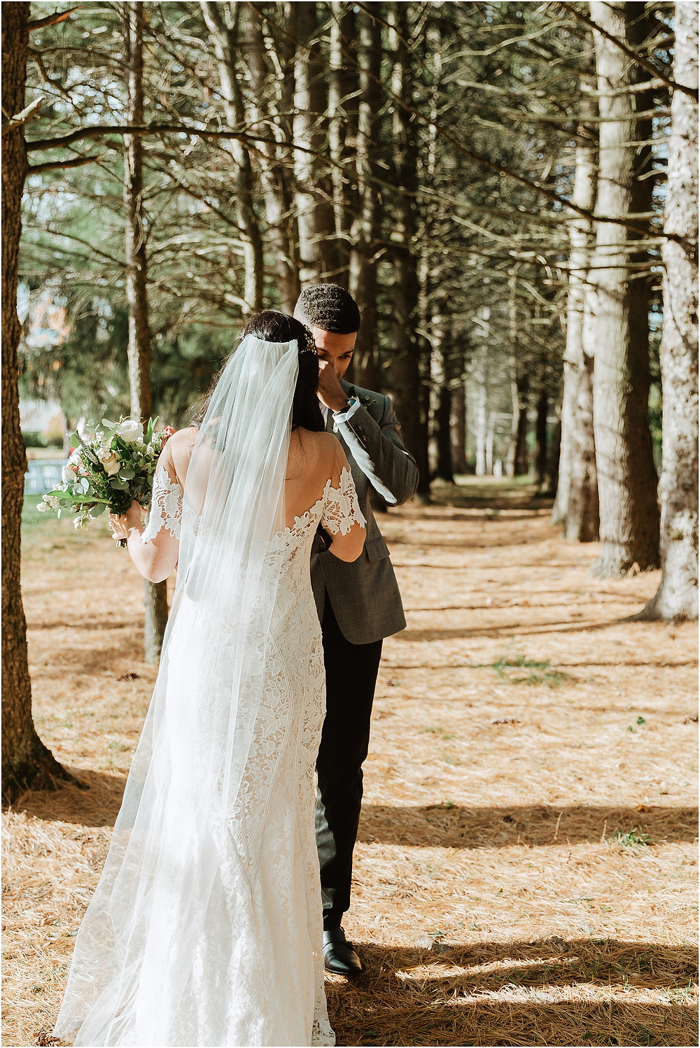 Bride and Groom First Look in the Woods