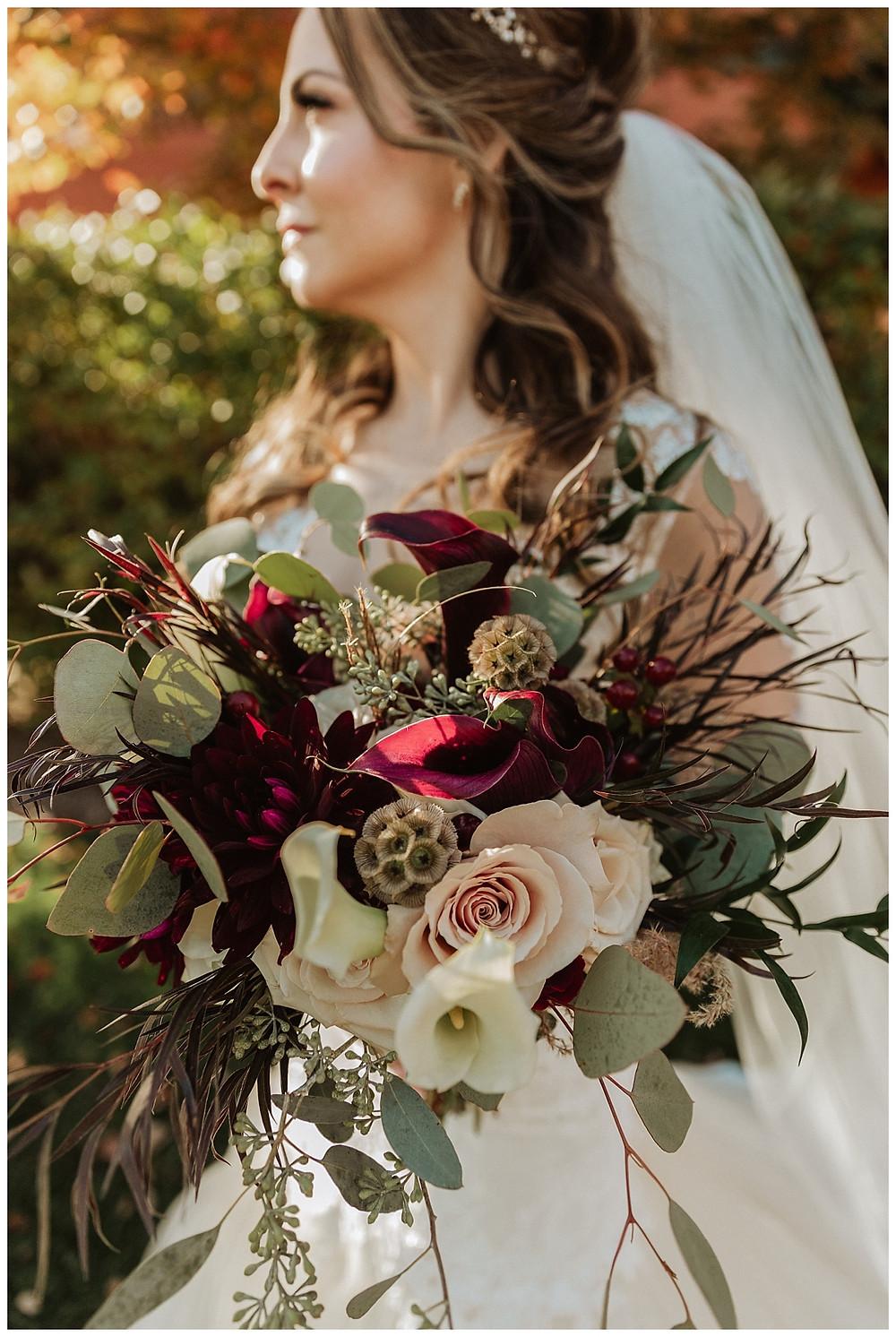 Bridal Portrait with Unique Red and Purple Bridal Bouquet