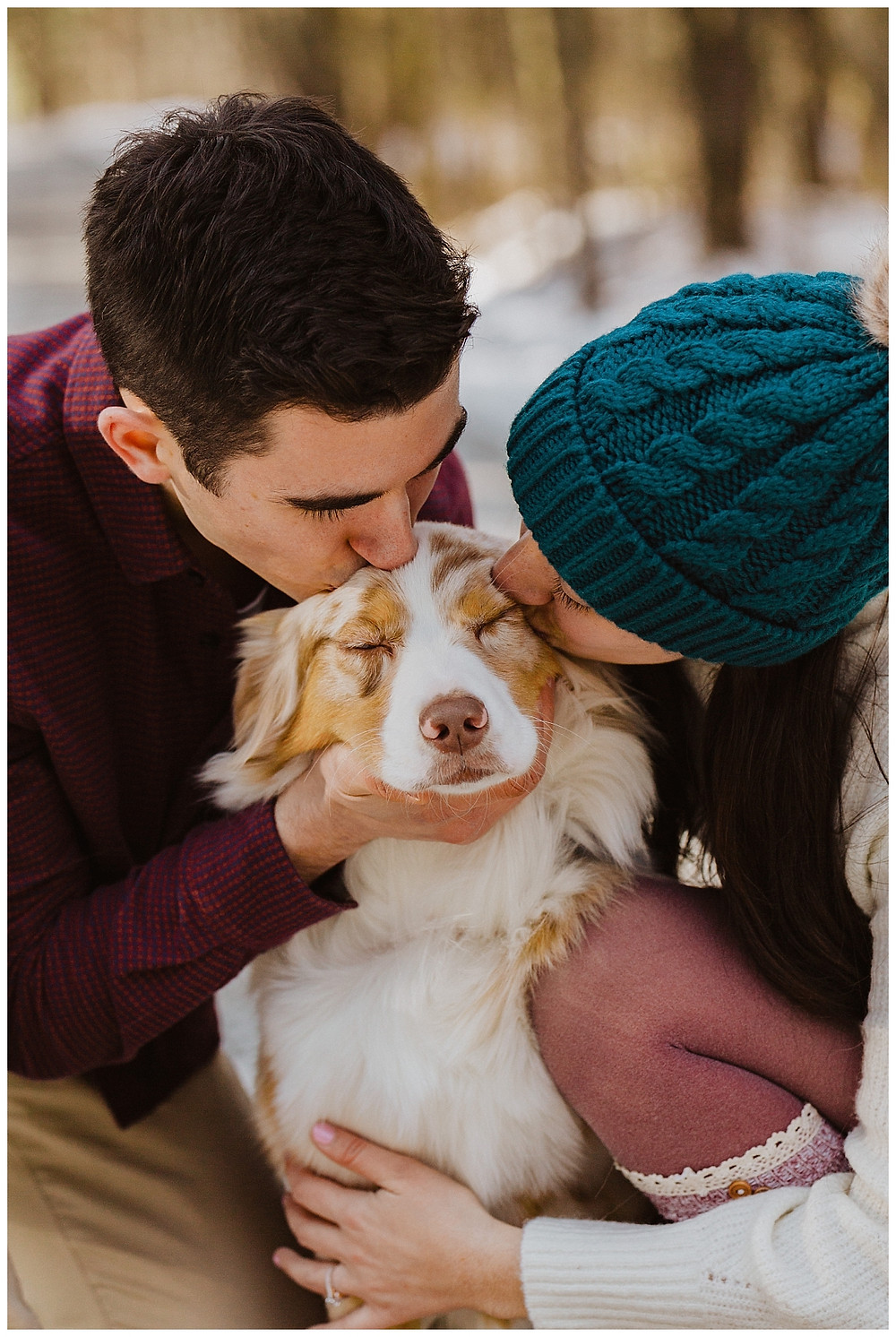 Couples Snowy Road Pre-Wedding Portraits in Vermont with Aussie Pup