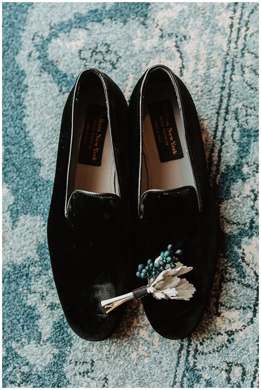 Unique Beach Inspired Groom Boutonniere and Black Velvet Dress Shoes