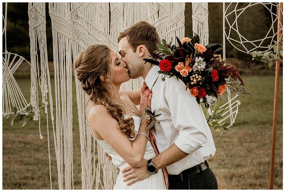 Boho Wedding Ceremony First Kiss