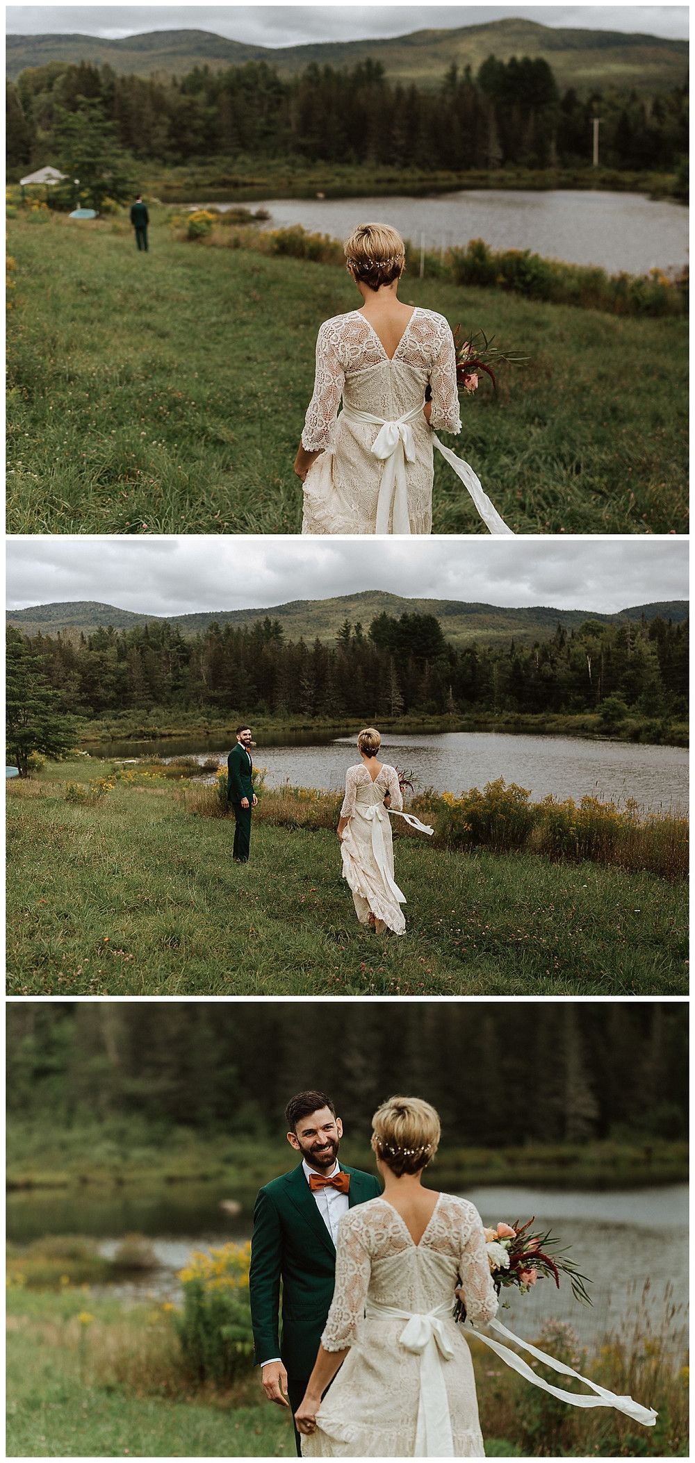 Bride & Groom First Look in Mountains of Vermont