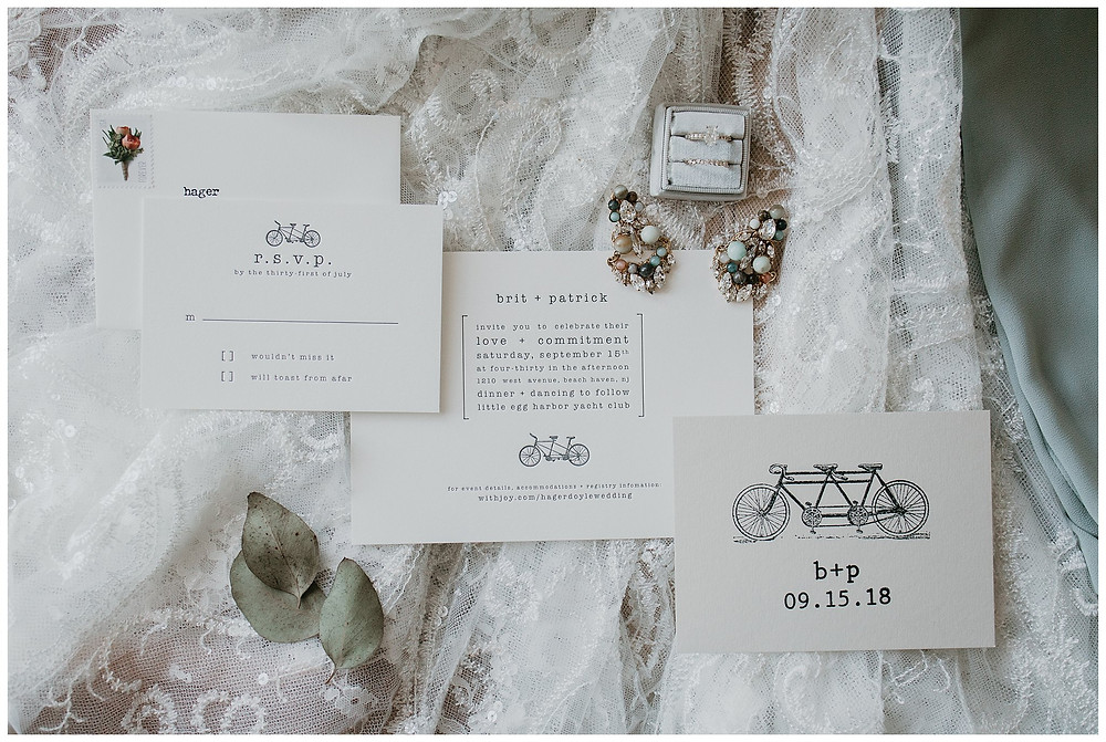 Vintage Lace Nautical Bridal Ring Details and Invitation
