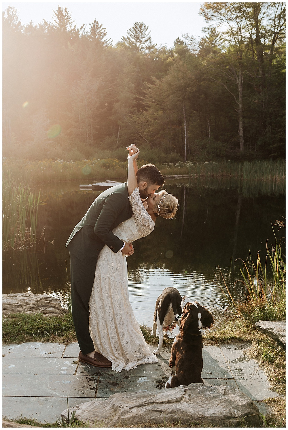 Bride & Groom Sunset Portraits with Pups