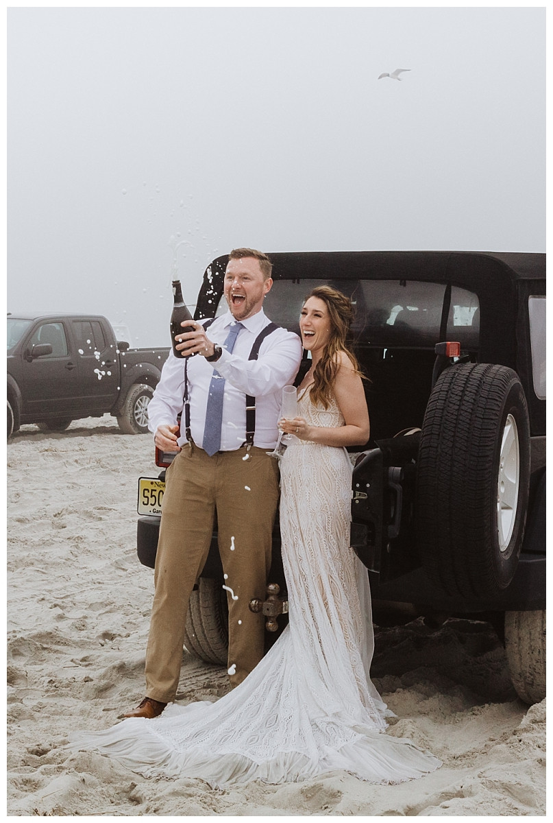 Bride and Groom Beach Pop Champagne