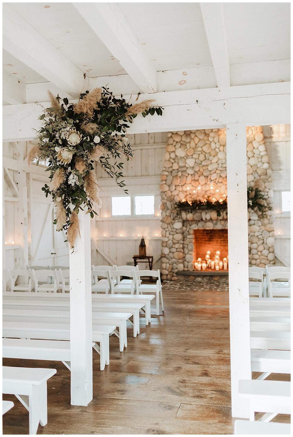 White Barn Chapel Wedding Ceremony at Bonnet Island Estate NJ