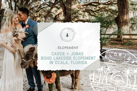 Boho Sunset Lakeside Elopement at Enchanted Oaks Farm in Ocala, Florida