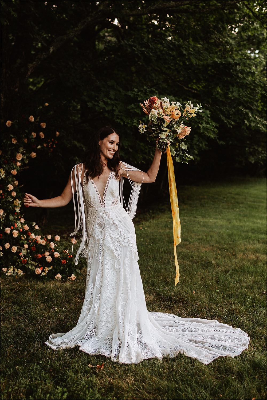 Moody Boho Mountain Bridal Portraits. Rue De Seine Wedding Dress