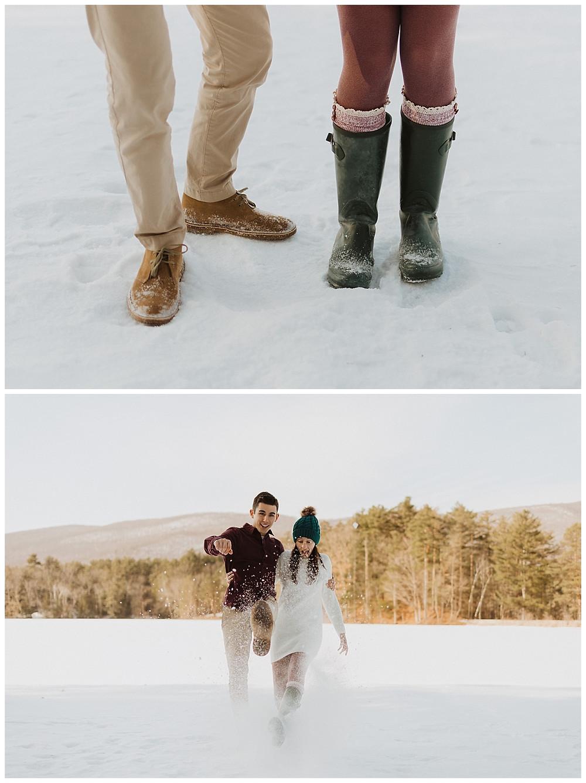 Couples Snowy Winter Pre-Wedding Portraits in Vermont