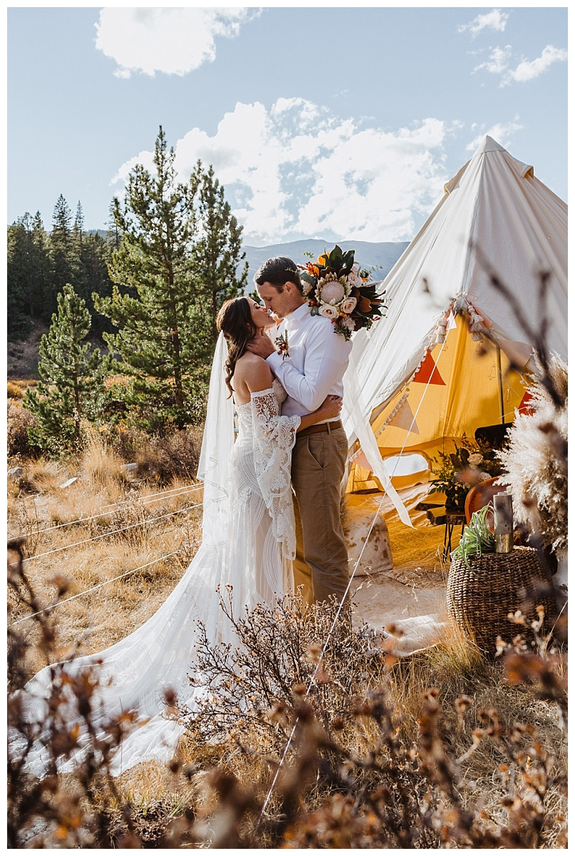 Rocky Mountain Tent Glamping Elopement Couples Portraits