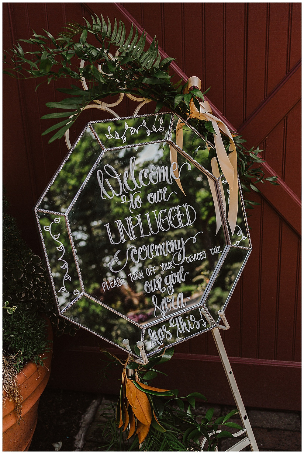 Unplugged Ceremony Mirror Sign