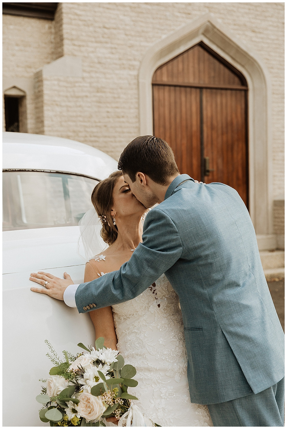 Bride and Groom Portraits with Vintage Car
