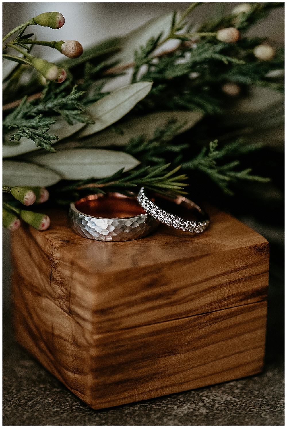 Diamond Wedding Ring and Hammered Metal Wedding Band with Wooden Ring Box