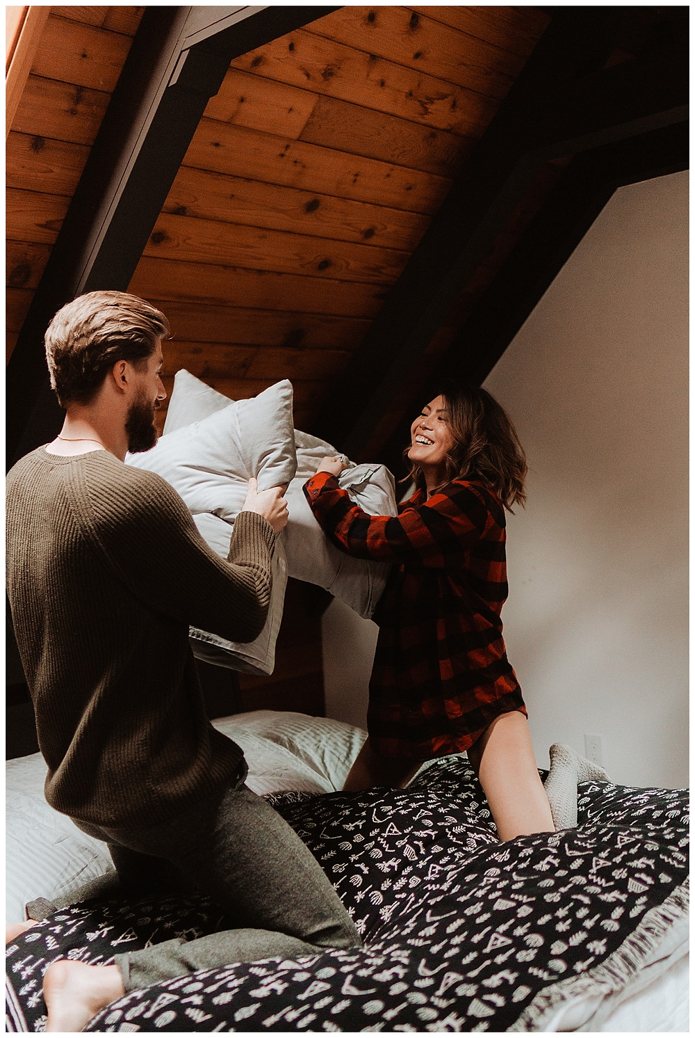 Cozy Cabin Pillow Fight Adventure Engagement Session in Canada