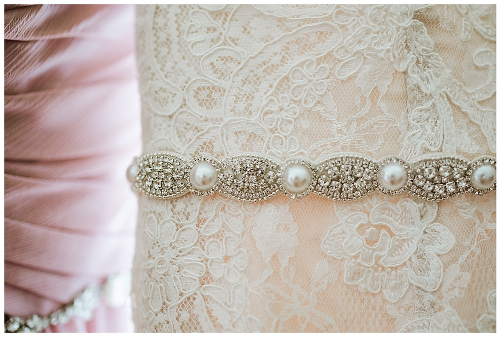 Wedding Dress Lace and Beaded Detail