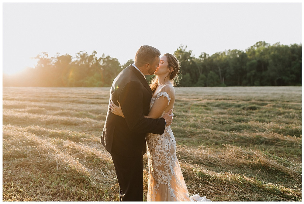 Bride & Groom Sunset Meadow Portraits