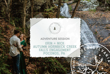 Autumn Waterfall Adventure Engagement at Hornbeck Creek Falls in the Poconos, Pennsylvania