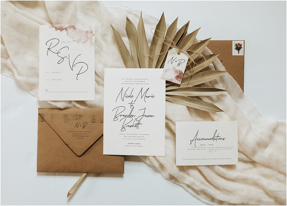 Palm Leaf and Watercolor Wedding Invitation Suite Details