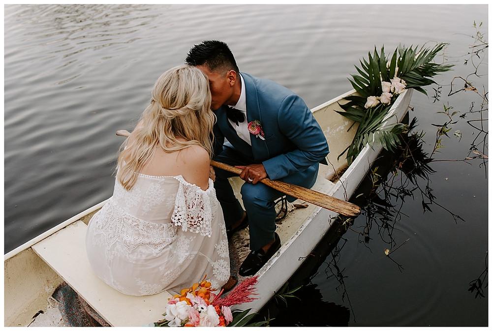 Canoeing Adventure Elopement Bride & Groom Portraits