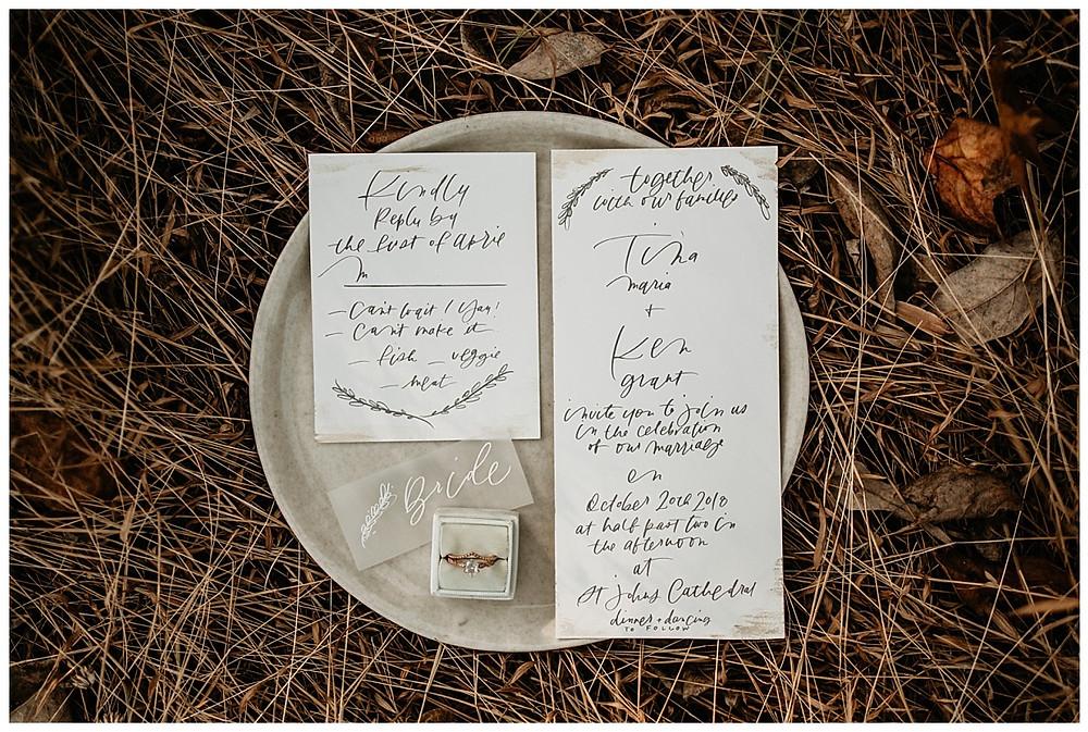 Handwritten Calligraphy Wedding Invitations Stationary
