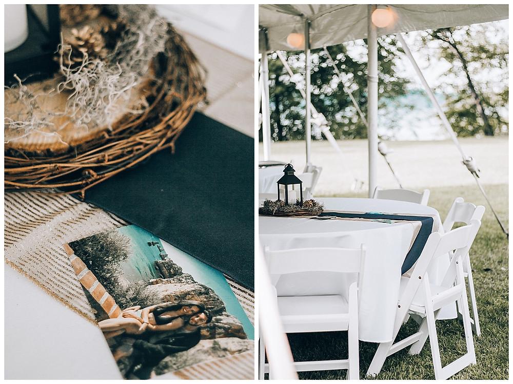 Tented Wedding Reception Table Centerpieces