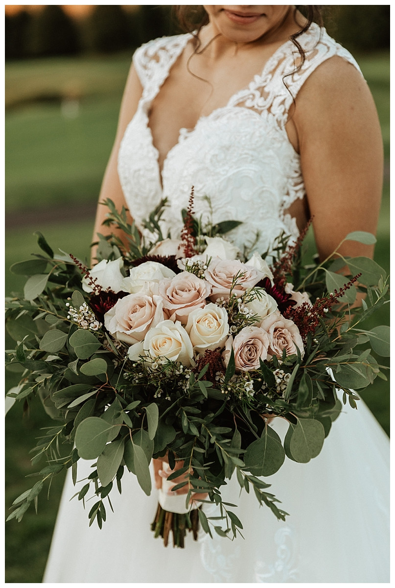 Bridal Bouquet with Roses and Eucalyptus
