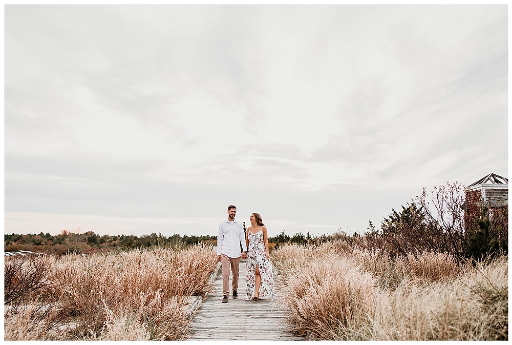 Autumn Beach Adventure Engagement NJ