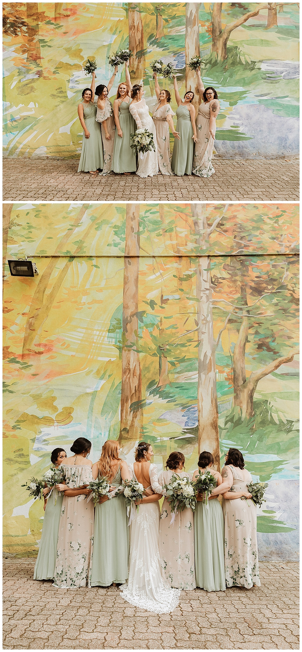 Bridal Party Portraits in front of Painted Mural