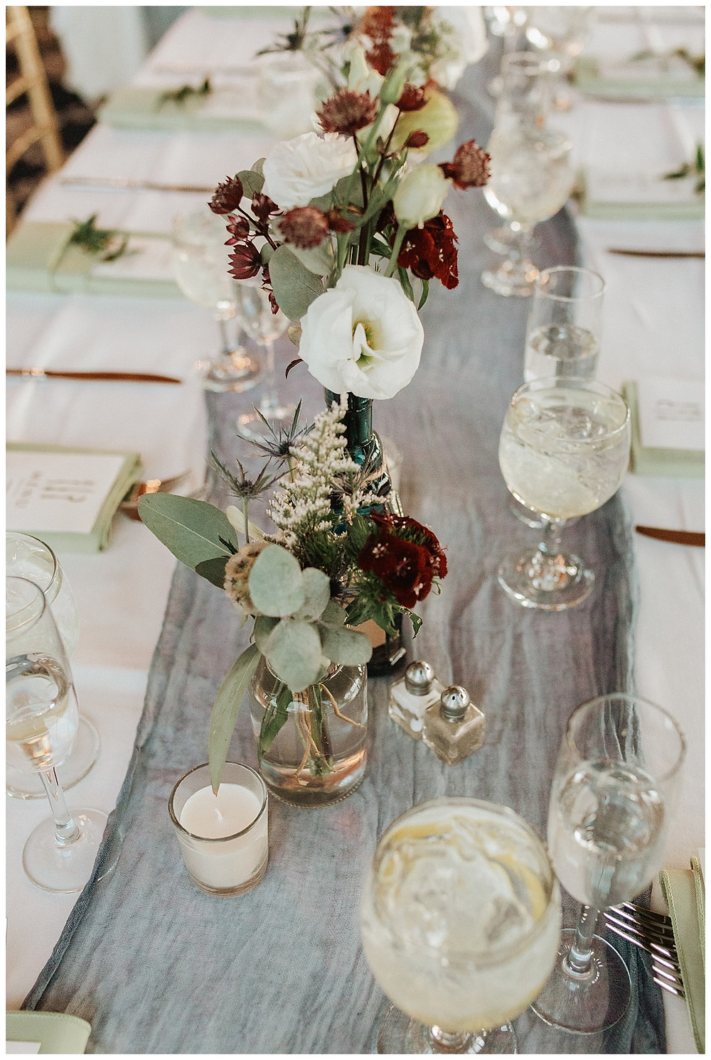 Coastal Inspired Table Settings with Colored Glasses