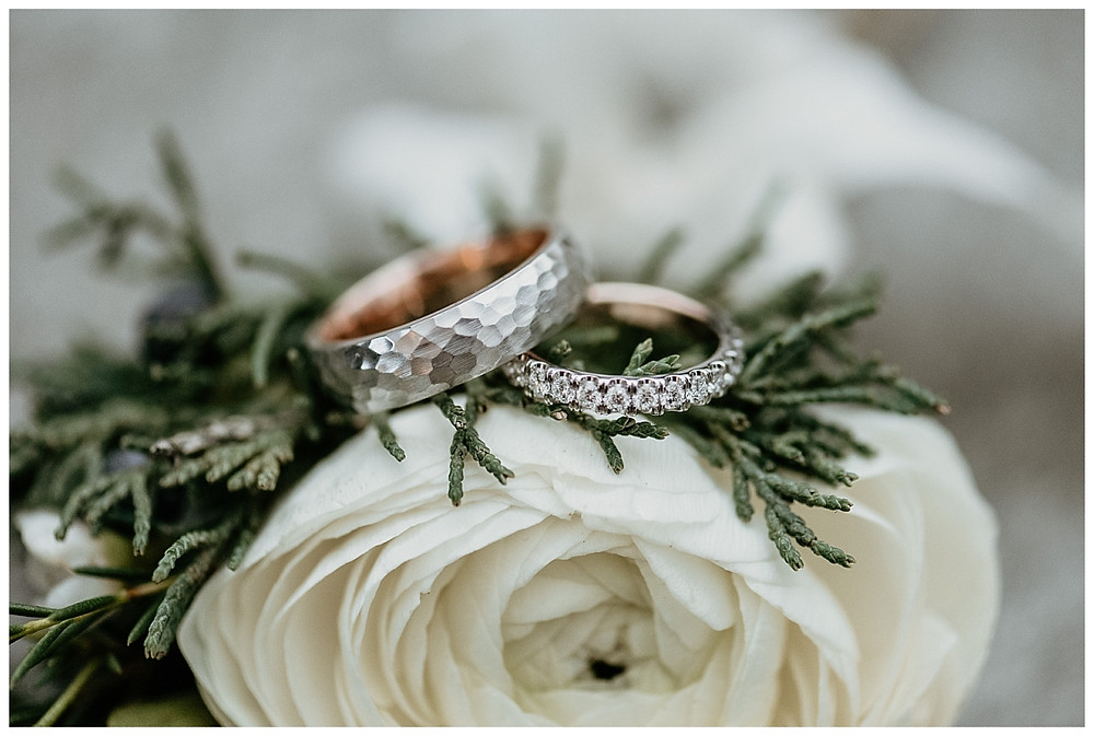 Diamond Wedding Ring and Hammered Metal Wedding Band