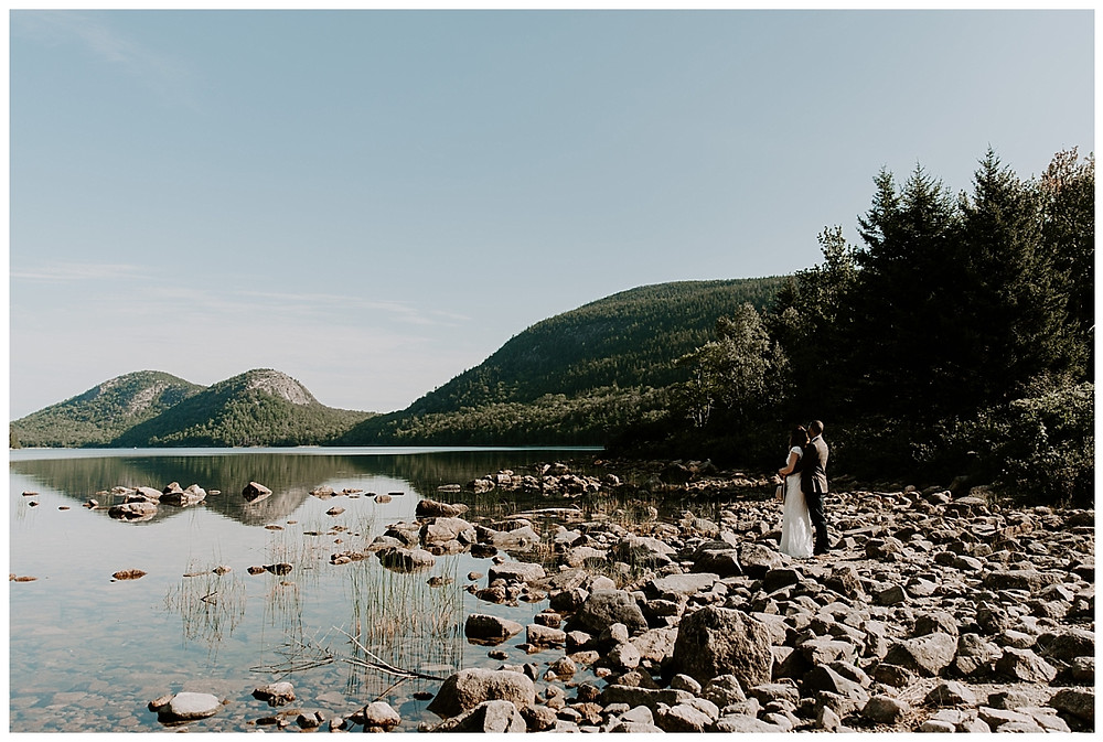 Adventure Elopement Photography at Jordan Pond, Acadia National Park, Maine