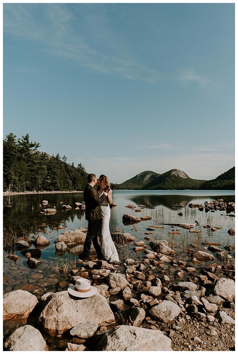 Adventure Elopement Photography at Jordan Pond, Acadia National Park, Maine