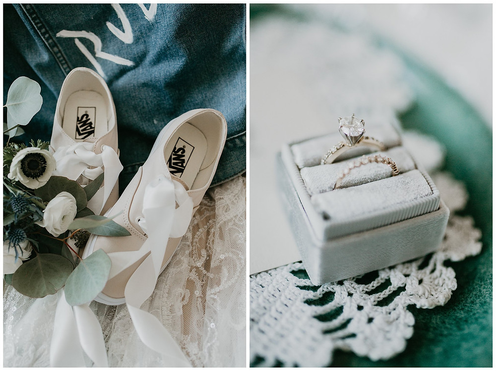 Vintage Lace Nautical Bridal Details, Classic Ring and Fun Beige Sneakers