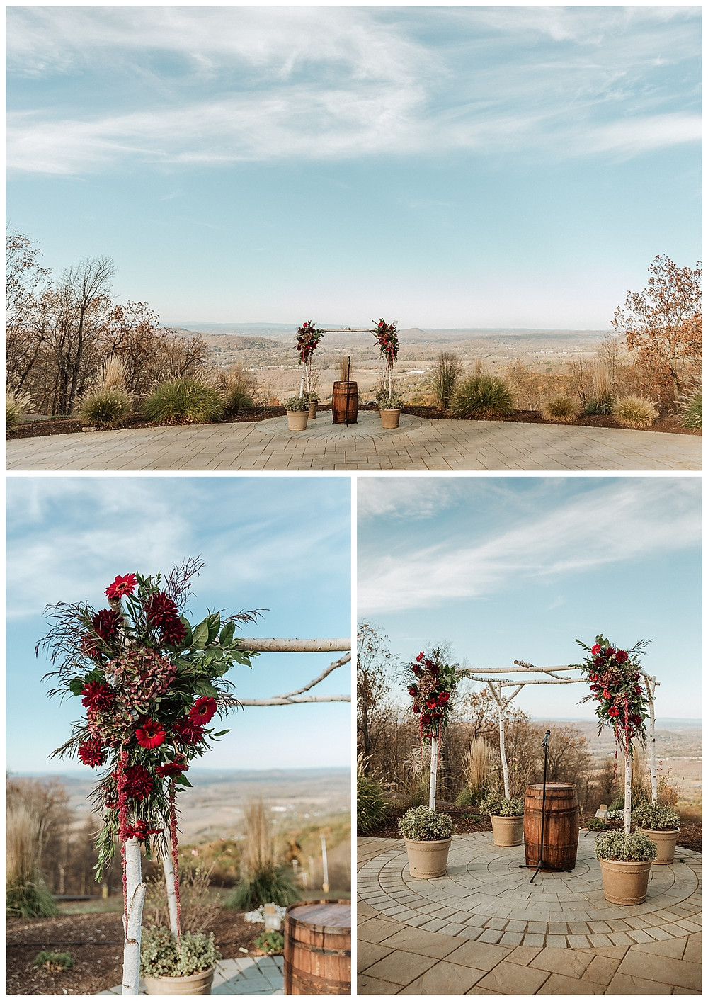 Mountaintop Wedding Ceremony with Magenta Floral Details and Birch Wedding Arch