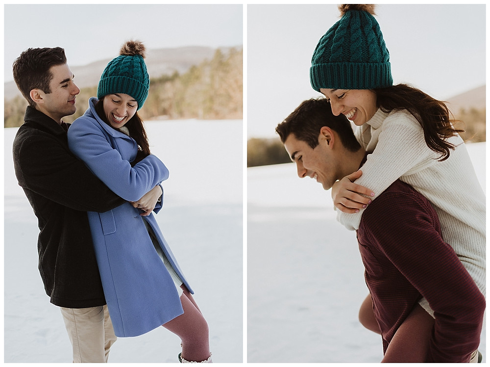Couples Snowy Pre-Wedding Portraits in Vermont
