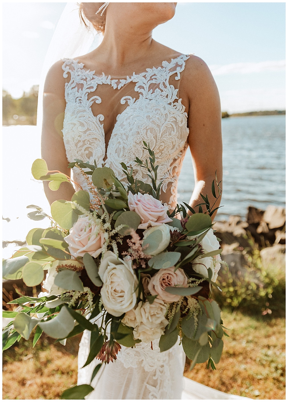 Bridal Portrait with Eucalyptus & Rose Bridal Bouquet