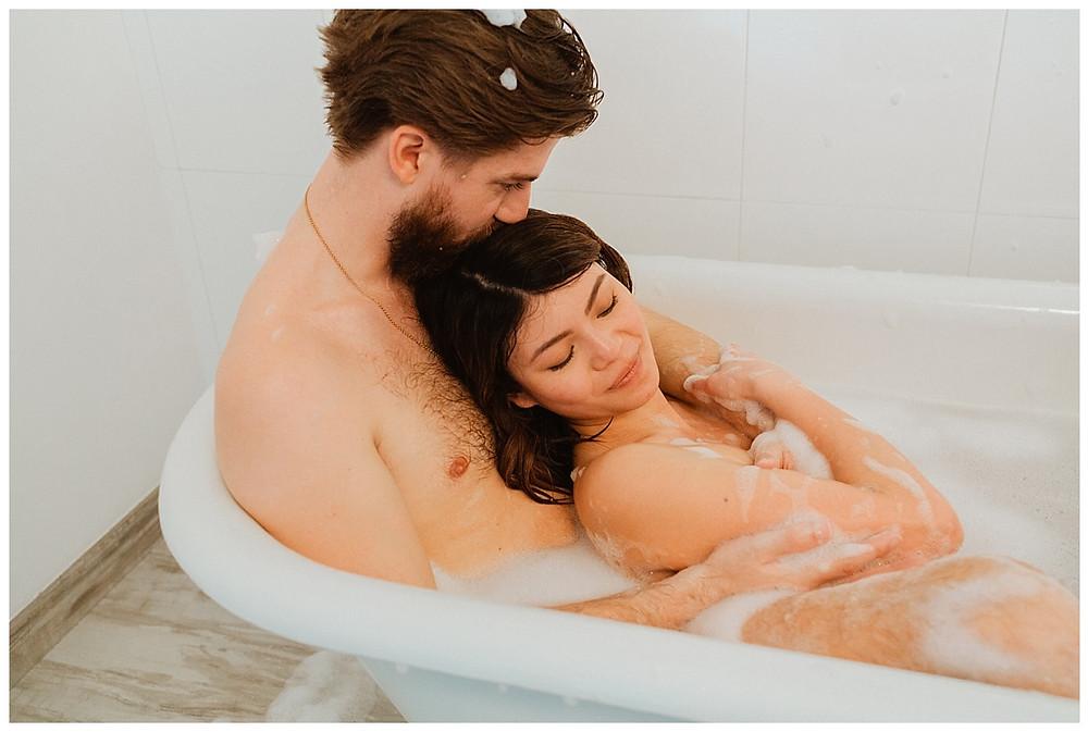 Intimate Bath Tub Couples Portraits Boudoir