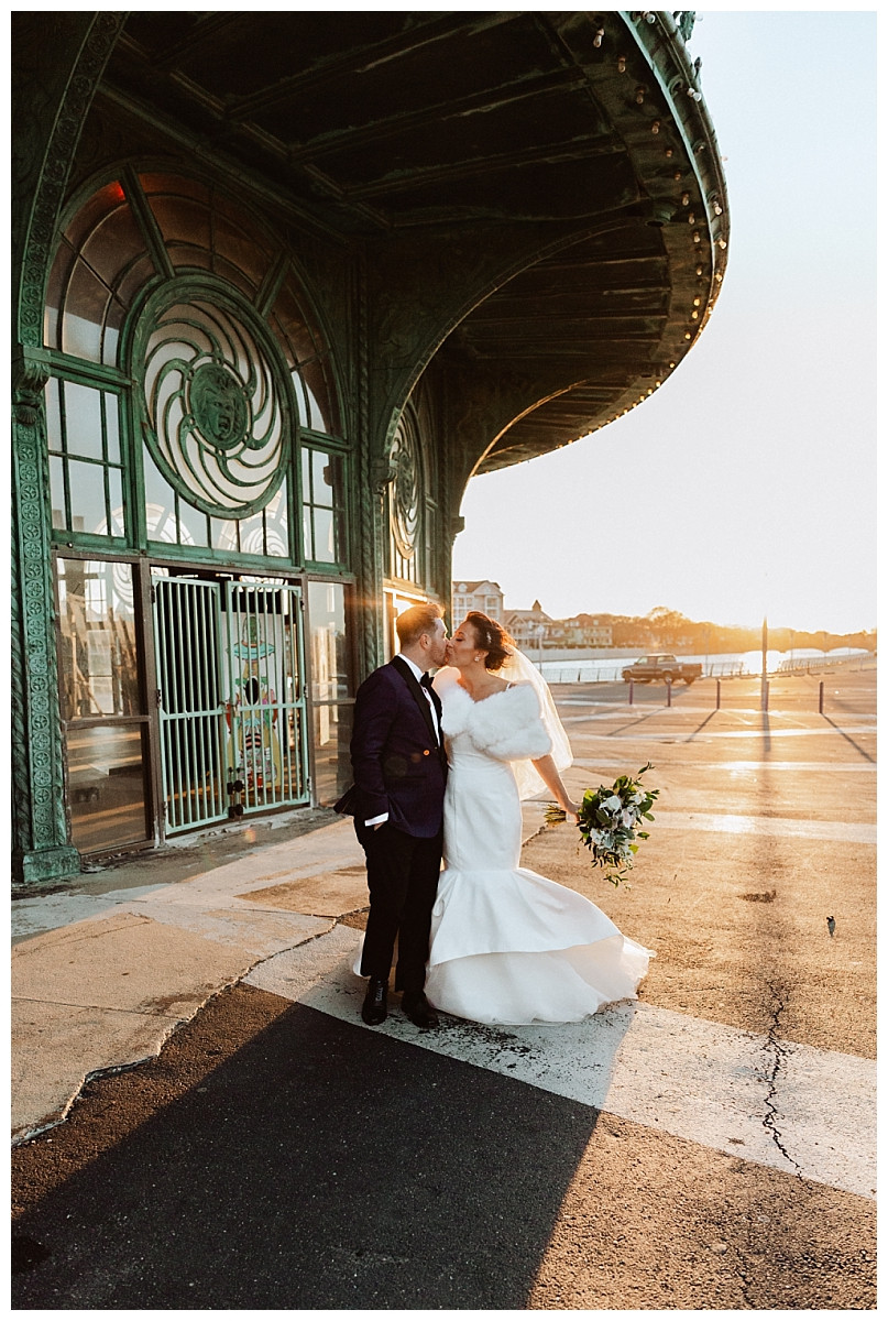 Sunset Bride & Groom Portraits at the Asbury Carousel House