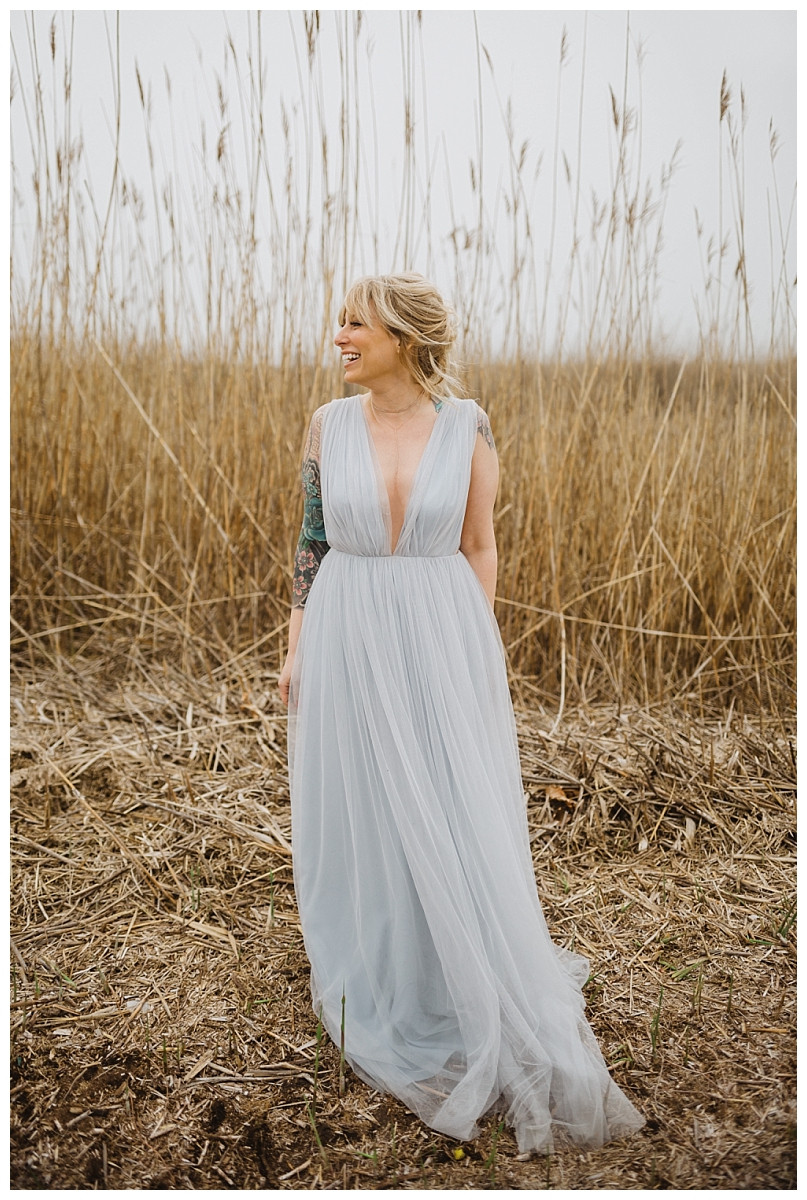 Bridesmaid Portraits in Light Blue Tulle Dress