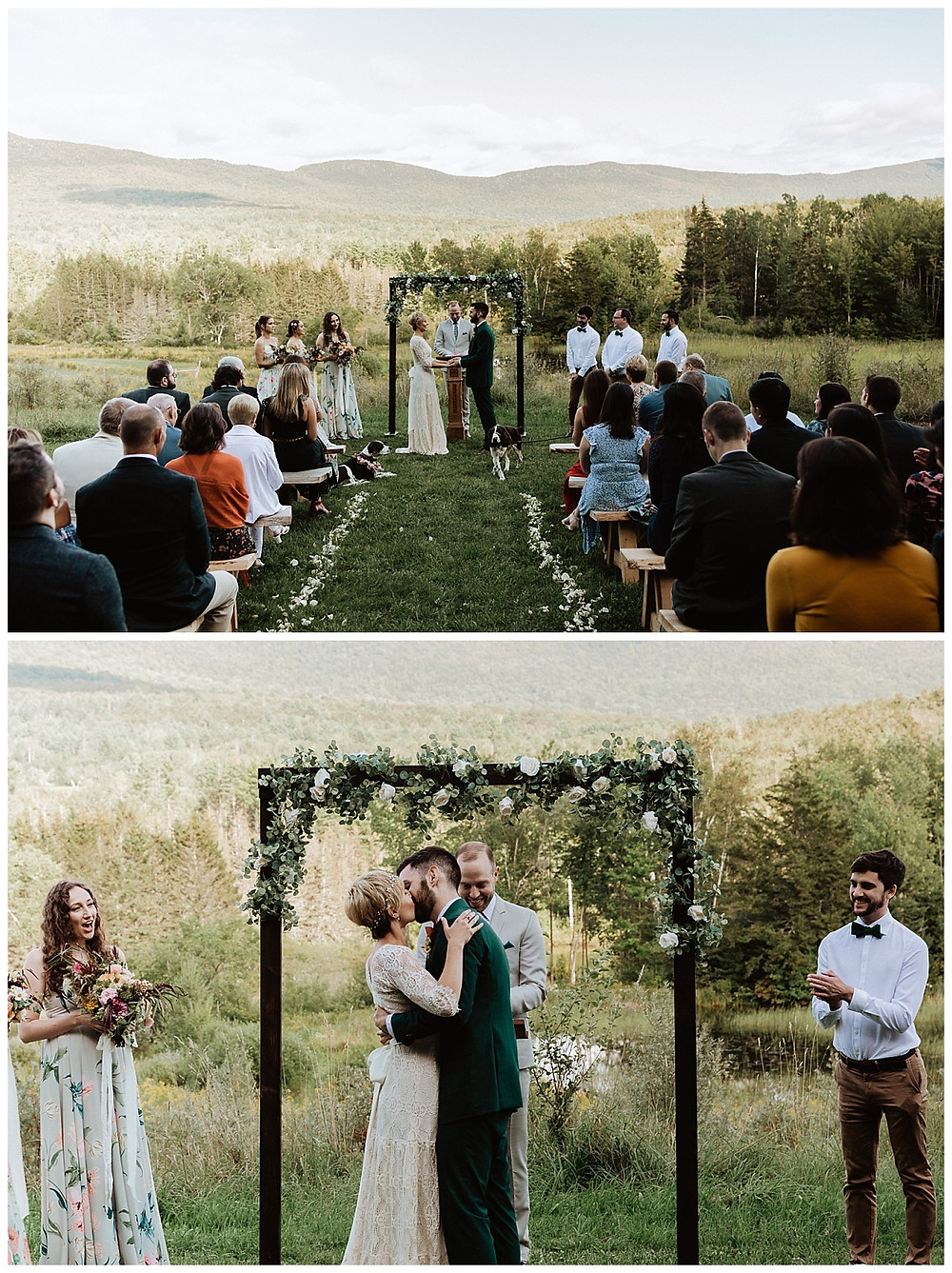 Outdoor Vermont Wedding First Kiss