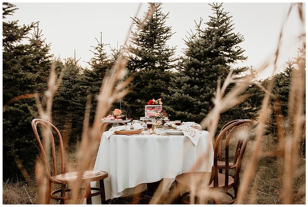 Boho Tree Farm Elopement Reception Table Setting