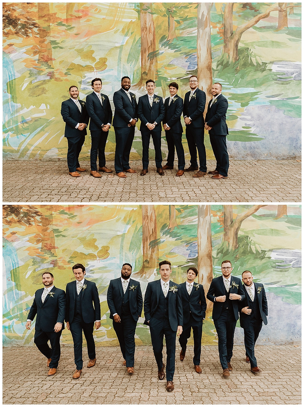Wedding Party Portraits in front of Painted Mural