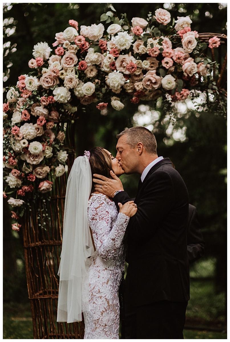 First Kiss at Romantic Backyard Micro Wedding, Sara Fitz Co