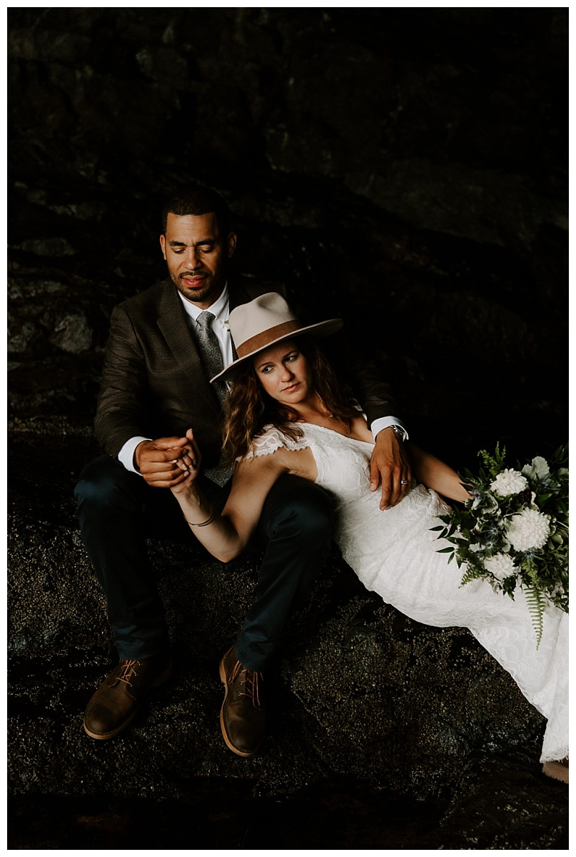 Elopement Photos in Anemone Cave, at Acadia National Park, Maine