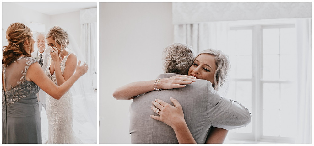 Bride's First Look with Mom and Dad