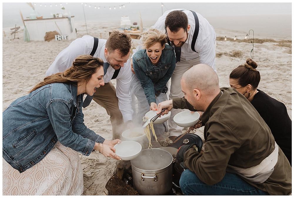 Seafood Wedding Dinner at Remote Beach Wedding