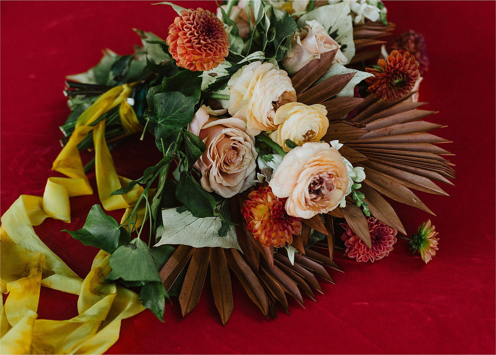 Fall Wedding Bouquet with Dyed Ribbons and Peonies
