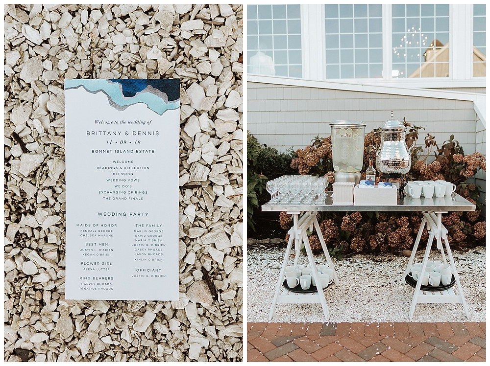 Ceremony Card and Refreshments