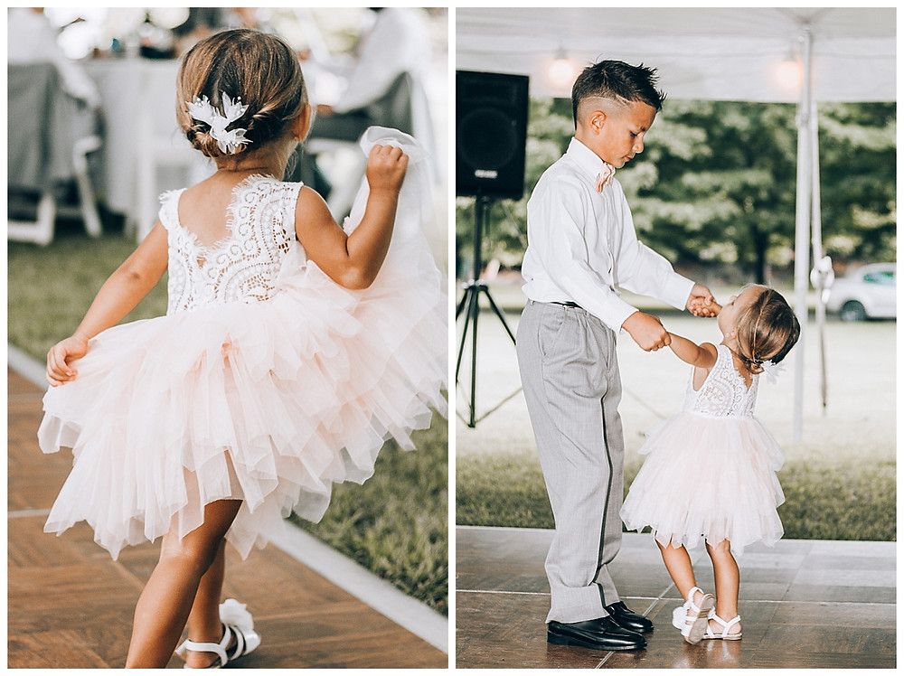 Flower Girl and Ring Bearer Dancing at Wedding Reception