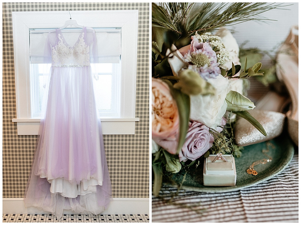 Purple Tulle Lace Wedding Dress and Bridal Ring Bouquet Details